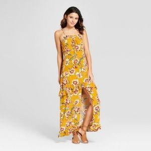 NWT Floral Strappy Maxi Dress Ruffle Slit Sz L 786